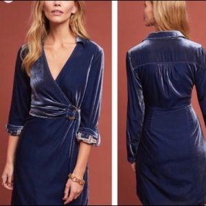 Anthropologie Maeve Blue Velvet Wrap Dress